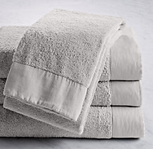 Linen-Bordered Turkish Cotton Towels- Bath Towel - Cool Grey