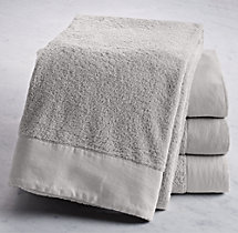 Linen-Bordered Turkish Cotton Towels- Bath Sheet - Cool Grey