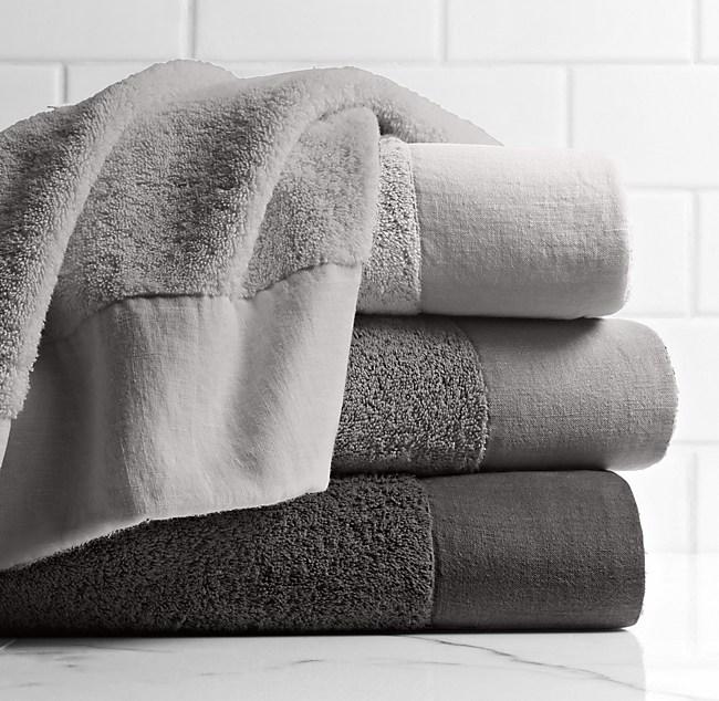 Linen Bordered 650 Gram Turkish Cotton Towel Collection