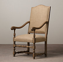 18th C. French Burlap Armchair