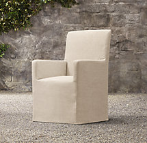 Belgian Track Arm Slipcovered Outdoor Armchair