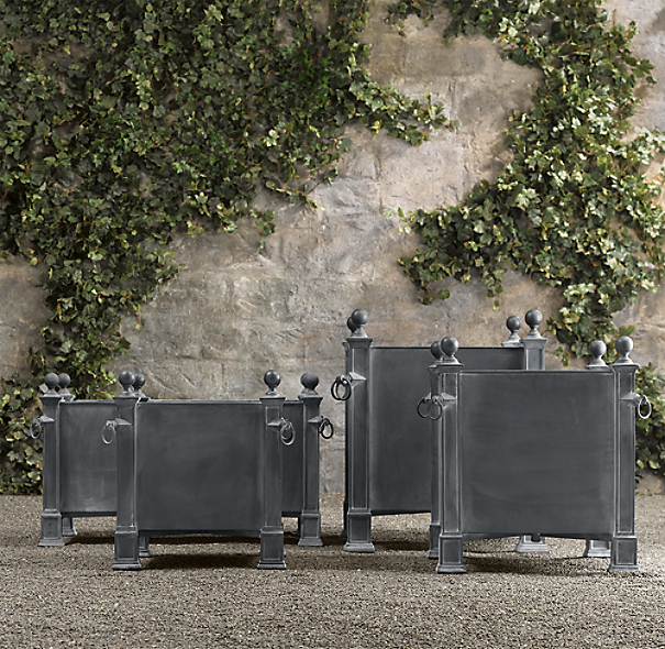 Versailles weathered zinc planters for French drain collection box
