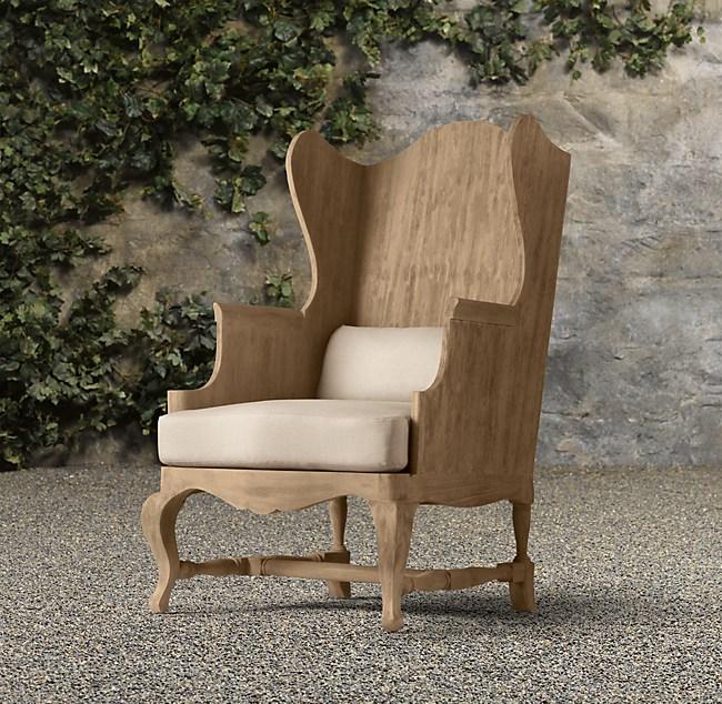 c. teak wingback chair