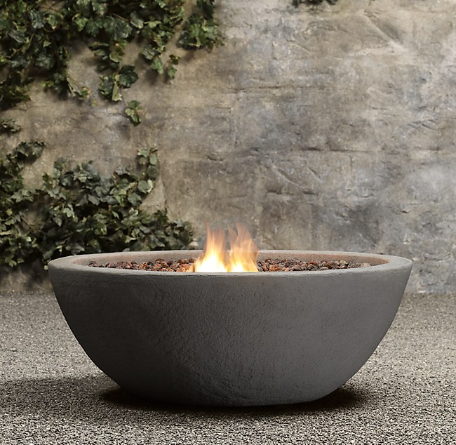 Rock Propane Fire Bowl - Concrete outdoor fireplace river rock fire bowl from restoration hardware