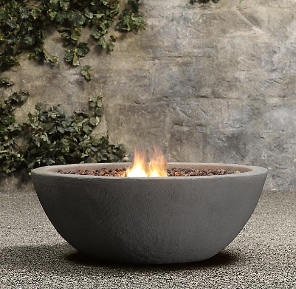 Lava Rock Natural Gas Fire Bowl