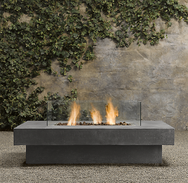 Laguna concrete ventless fire table rectangle for Outdoor modern fire pit