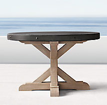Belgian Trestle Concrete & Teak Round Dining Table