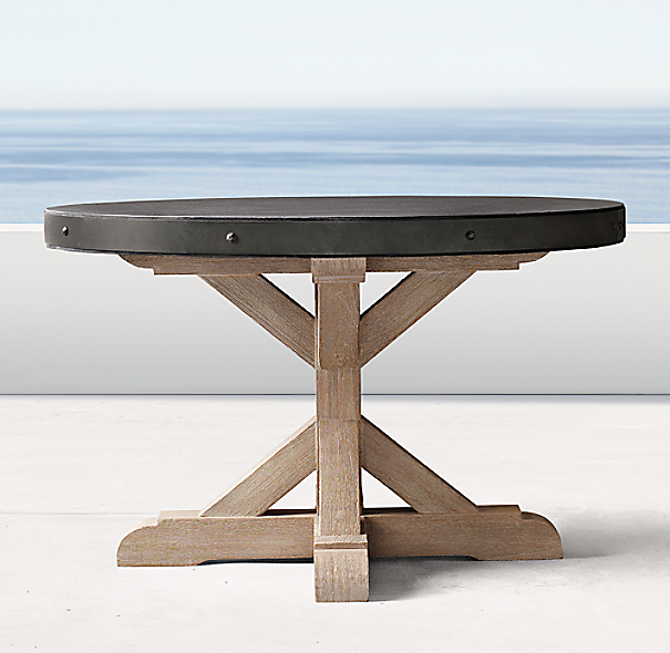 Belgian Trestle Concrete Teak Round Dining Table