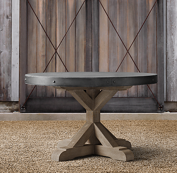 Martens Round Coffee Table Restoration Hardware 36 Inch: Belgian Trestle Concrete & Teak Round Dining Table