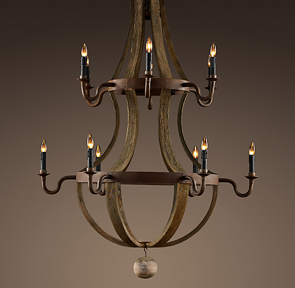 Wine barrel 2 tier chandelier for Unique foyer chandeliers