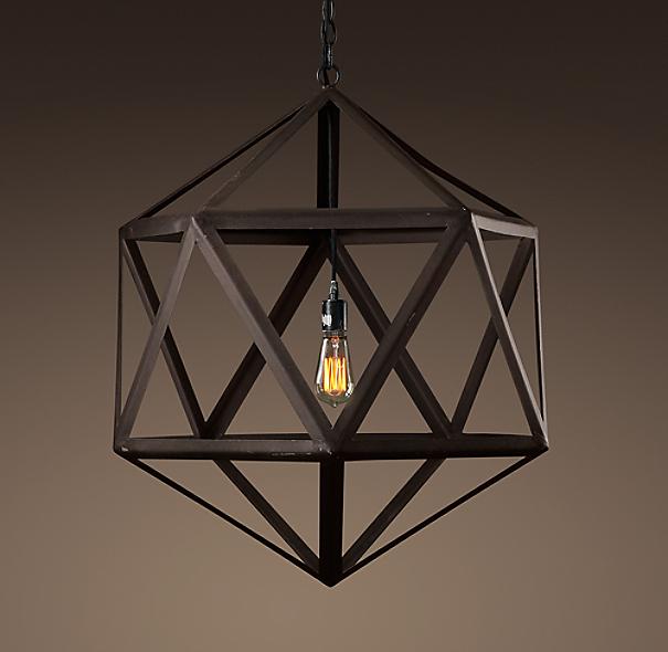 "Quentin Light Restoration Hardware: Steel Polyhedron Pendant 25"""