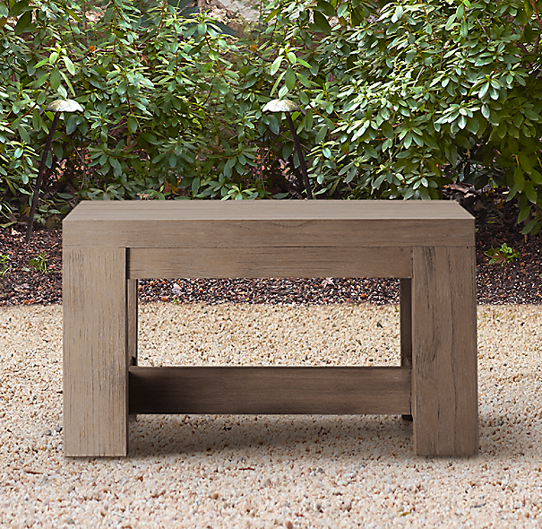 Rh French Beam Coffee Table: French Beam Weathered Teak Side Table