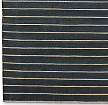 Pinstripe Flatweave Rug Swatch - Charcoal/Ivory