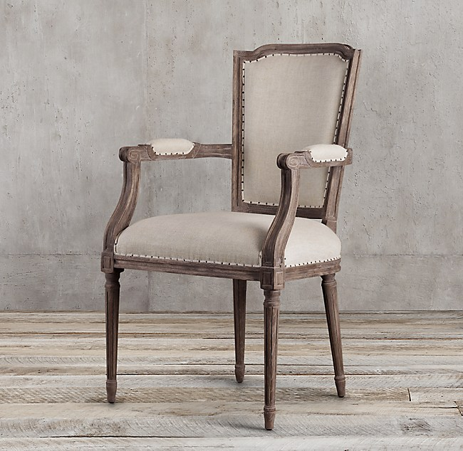 Vintage French Nailhead Fabric Armchair