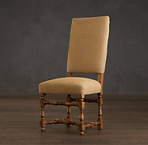 1890 English Baroque Burlap Side Chair