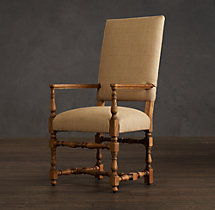 1890 English Baroque Burlap Armchair