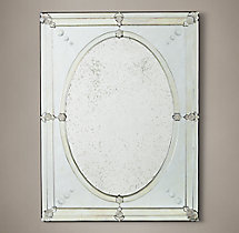 19th C. French Layered with Oval Glass Mirror