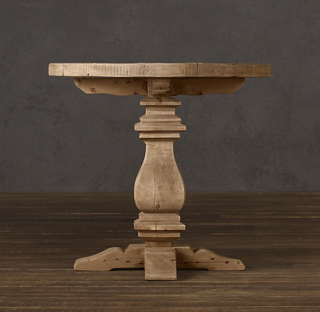 Pedestal Salvaged Wood Round Side Table