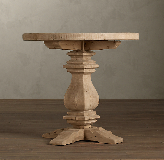 . Pedestal Salvaged Wood Round Side Table