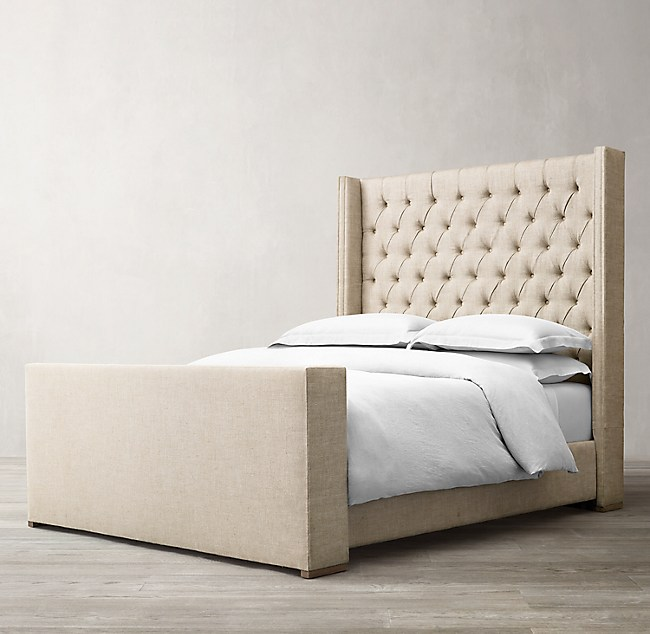 Adler Shelter Diamond Tufted Fabric Bed With Footboard