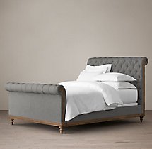 Deconstructed Chesterfield Sleigh Bed With Footboard