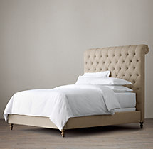 Chesterfield Fabric Sleigh Bed