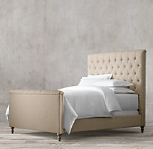 Chesterfield Fabric Panel Bed With Footboard