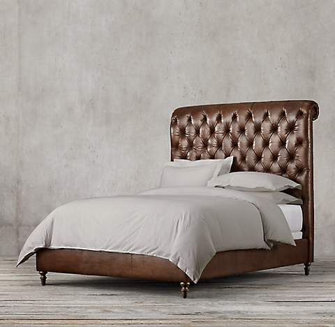 all leather beds rh - Leather Bed