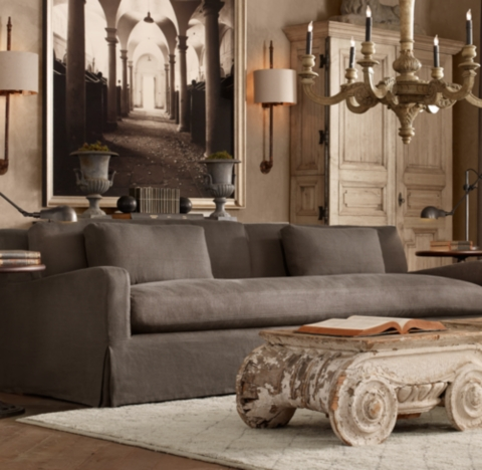 6 Belgian Slope Arm Slipcovered Sofa