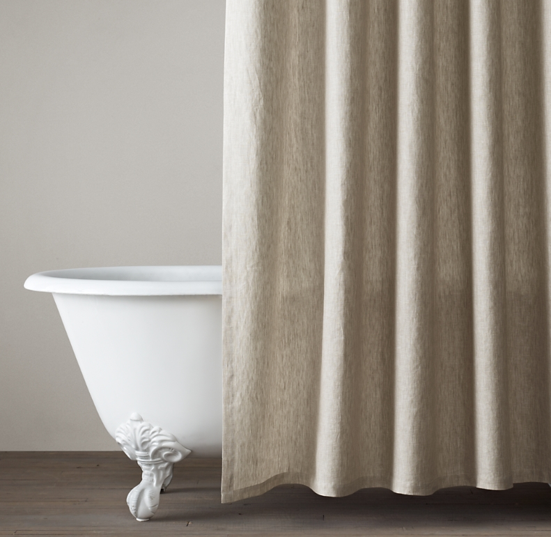 Vintage Washed Belgian Linen Shower Curtain