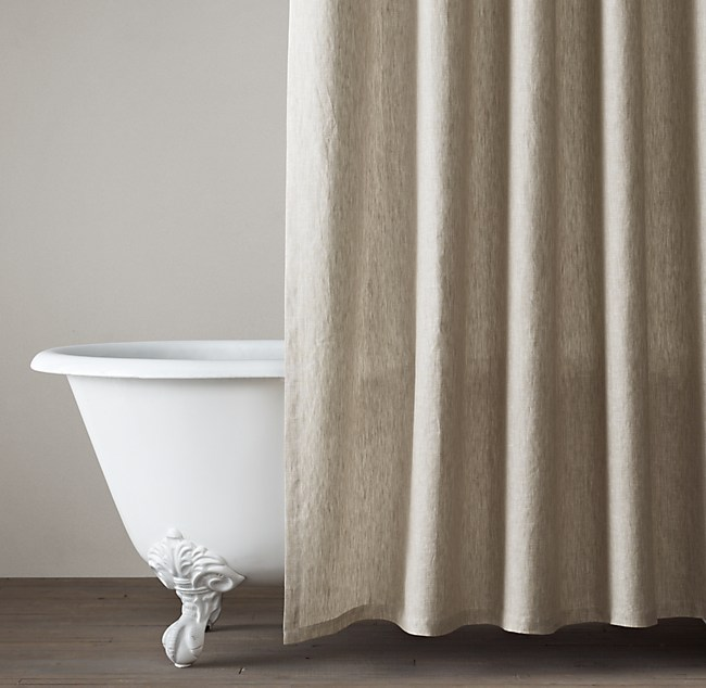 beige and white shower curtain.  Vintage Washed Belgian Linen Shower Curtain