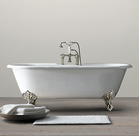 Vintage Imperial Clawfoot Soaking Tub With White Feet