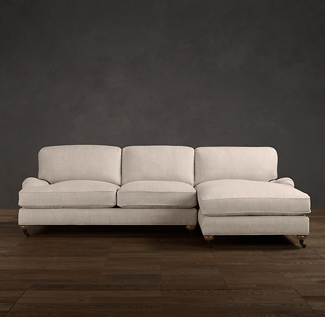 Preconfigured English Roll Arm Right Arm Sofa Chaise Sectional
