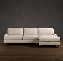 English Roll Arm Upholstered Right-Arm Chaise Sectional
