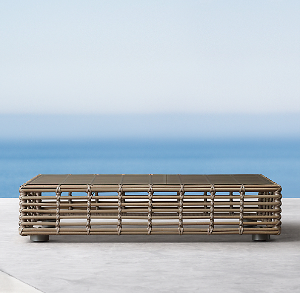 Luna Daybed Coffee Table Ottoman Glass
