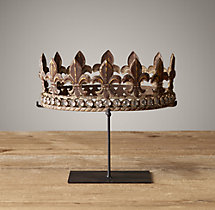 19Th C. Crowns On Stands Jeweled Fleur-De-Lys Crown