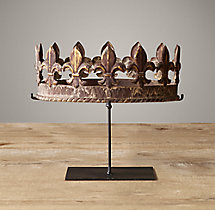 19Th C. Crowns On Stands Fleur-De-Lys Crown