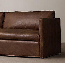 8' Belgian Classic Shelter Arm Leather Two-Seat-Cushion Sofa