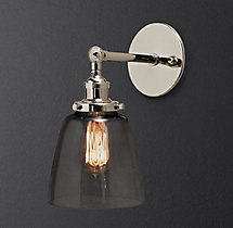 20th C. Factory Filament Smoke Glass Cloche Sconce