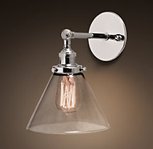 20th C. Factory Filament Clear Glass Funnel Sconce