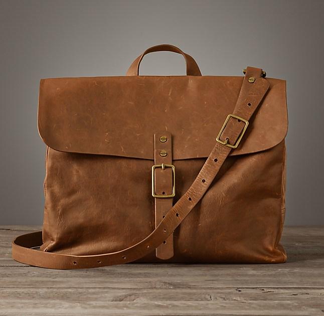 Leather Messenger Bag - Chestnut
