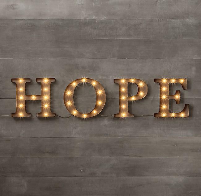 Vintage Illuminated Marquee Words - Hope