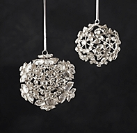 Victorian Glass Snowflake Sphere Ornament Flower