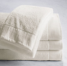 Linen-Bordered 650-Gram Turkish Bath Towel - Ivory