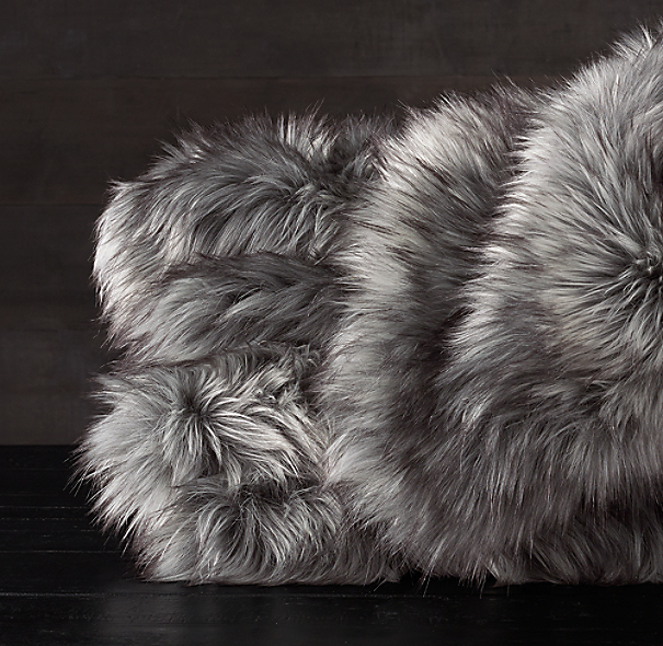 Exotic Faux Fur Oversized Bed Throw Siberian Grey Fox