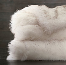 Exotic Faux Fur Oversized Bed Throw - Arctic White Mink