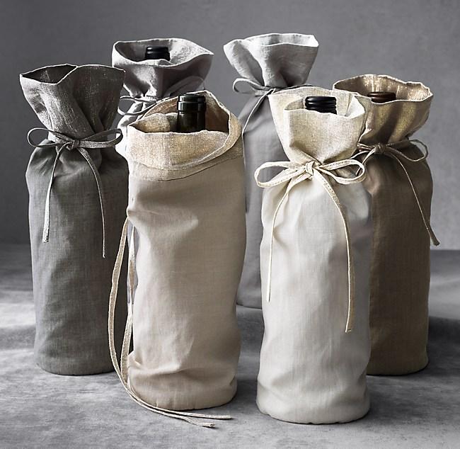 Belgian Linen Metallic Wine Bag
