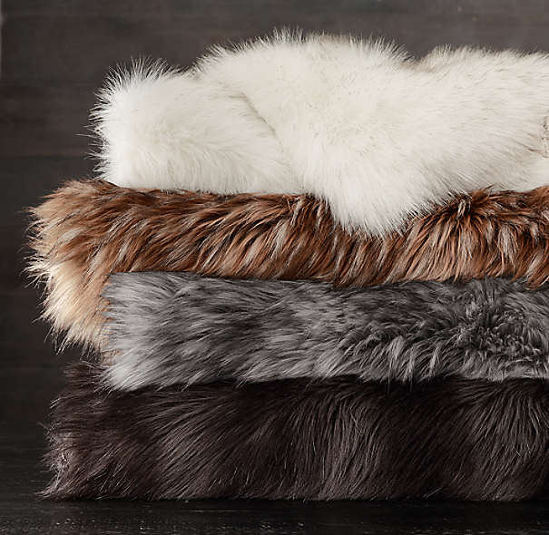 Exotic Faux Fur Throw Arctic White Mink