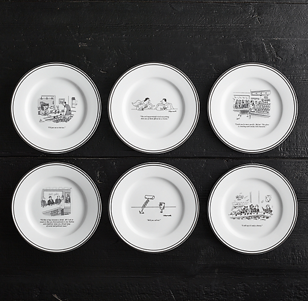 The New Yorker Bar Cartoon Cocktail Plates Set Of 6