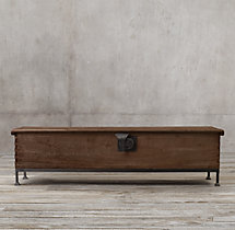18th C. Oak Trunk Long & Lean Coffee Table